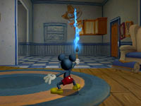 Mickey Mouse using his magical brush in Disney Epic Mickey 2: The Power of Two
