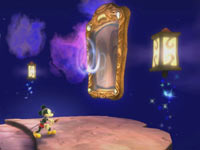 Mickey Mouse using a mirror to get to Wasteland in Disney Epic Mickey 2: The Power of Two