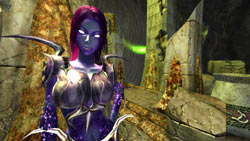Female character eyeballing you in EverQuest II: Sentinel's Fate Expansion Pack