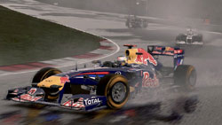 Taking a tight turn on a wet track in F1 2011
