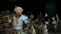 A party of characters lined up and ready for action in Final Fantasy XIV: A Realm Reborn