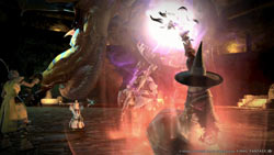 A party of characters battles a dragon in Final Fantasy XIV: A Realm Reborn