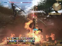 Screenshot of the in-game battle UI from Final Fantasy XIV: A Realm Reborn