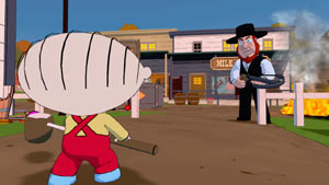 Stewie in an Old West showdown with an angry Amish in Family Guy: Back to the Multiverse
