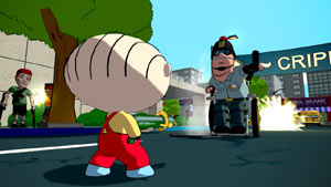 Stewie facing a charging handicapped cop in Family Guy: Back to the Multiverse