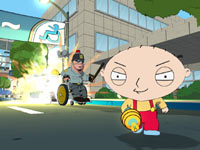 Stewie chased by a futuristic handicapped cop in Family Guy: Back to the Multiverse