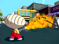 Stewie using a flamethrower in Family Guy: Back to the Multiverse