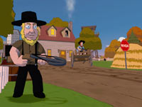 The Amish brandishing their crossbows in Family Guy: Back to the Multiverse