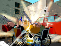 Brian unloading on attacking handicapped enemies in Family Guy: Back to the Multiverse