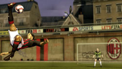 Ronaldinho performing a bike kick in 'FIFA Soccer 09' for PS3