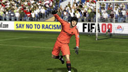 Goalkeeper tossing a ball back into play in 'FIFA Soccer 09' for PS3