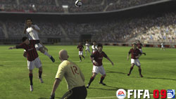 Heading a ball towards the gaol in traffic in 'FIFA Soccer 09' for Xbox 360
