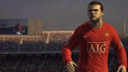 Wayne Rooney on the big screen in 'FIFA Soccer 09' for Xbox 360