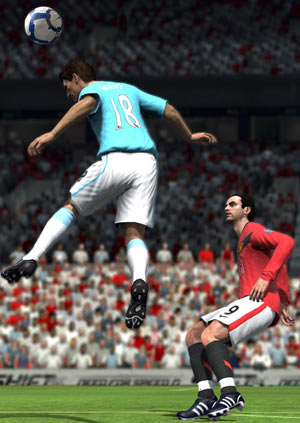 A header at midfield in FIFA Soccer 10