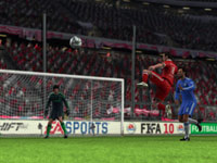 A set piece in front of the goal in FIFA Soccer 10