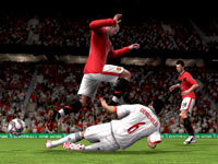 England's Wayne Rooney getting physical in FIFA Soccer 10