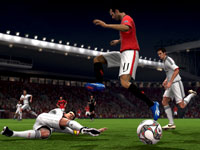 Clearing the ball away from an offensive player in FIFA Soccer 10