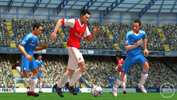 Working the ball upfield in FIFA Soccer 11 for PSP