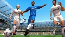 Going for the ball between two defenders in FIFA Soccer 11 for PS2