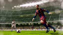 Taking a pass in the open field in FIFA Soccer 11