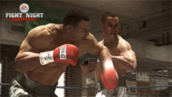 Iron Mike Tyson landing a crushing left to an opponent's face in Fight Night Champion