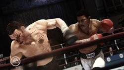 Muhammad Ali bloodying an opponent with a right hand in Fight Night Champion