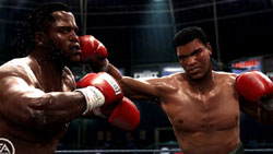 Ali hitting Joe Frazier with a straight right 'Fight Night Round 4'