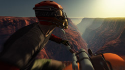 ATV rider overlooking and expansive canyon in 'FUEL'