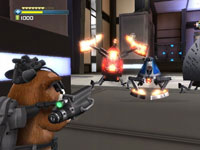 Battling robot enemies in 'G-Force' the video game