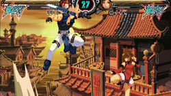 one-on-one character fight in 'Guilty Gear XX Accent Core Plus'