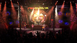 In-game concert venue seen from the crowds view in Guitar Hero II