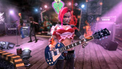 Hot fem rocker with her Les Paul in Guitar Hero III: Legends of Rock