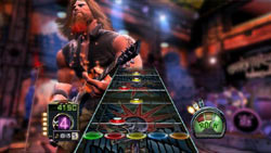 Note highway gameplay example from Guitar Hero III: Legends of Rock
