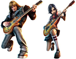 Two of the six playable characters from Guitar Hero: On Tour