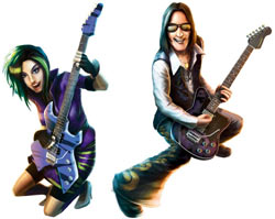 Two of the playable characters from Guitar Hero On Tour: Decades