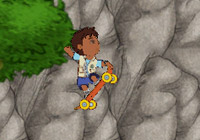 Diego in platforming action on his skateboard in 'Go Diego Go: Great Dinosaur Rescue' for Wii