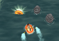 Diego rowing a rubber raft towards a dino coin in 'Go Diego Go: Great Dinosaur Rescue' for PS2