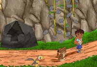 In-game arrows pointing players in the right direction in 'Go Diego Go: Great Dinosaur Rescue' for Wii