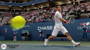 Novak Djokovic setting up a backhand shot in Grand Slam Tennis 2