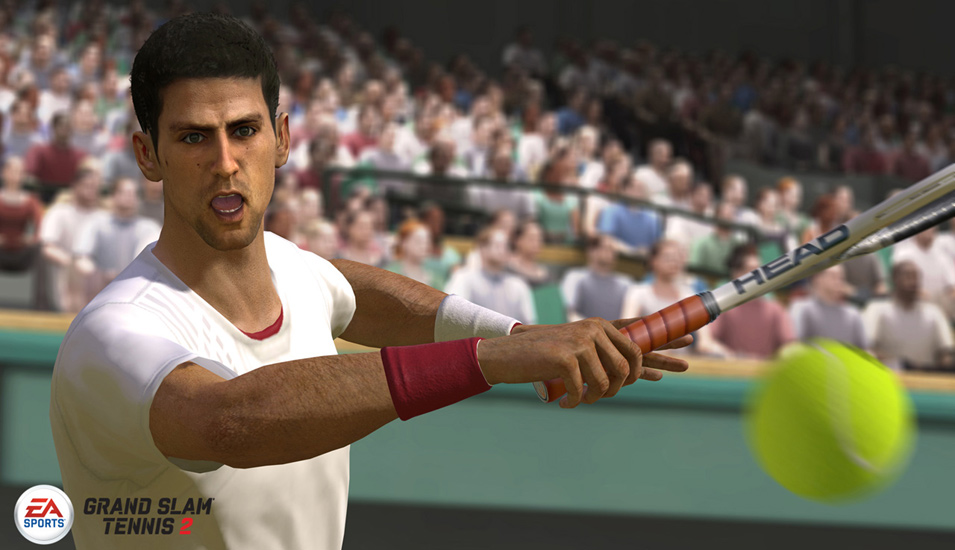 close-up of Novak Djokovic unleashing a forehand in Grand Slam