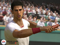 A close-up of Novak Djokovic unleashing a forehand in Grand Slam Tennis 2