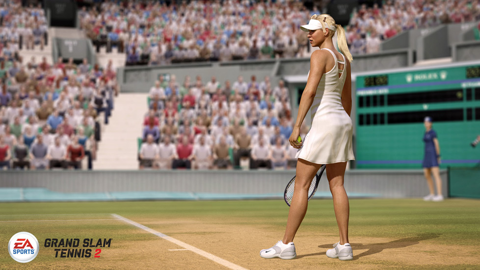 Maria Sharapova going through her service routine as she plays into