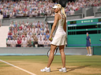 Maria Sharapova going through her service routine as she plays into the second week at Wimbledon in Grand Slam Tennis 2