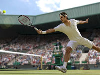 Roger Federer stretching for a backhand at Wimbledon in Grand Slam Tennis 2