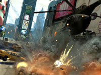 A helicopter attacking targets on the ground at close range in Grand Theft Auto: Episodes from Liberty City