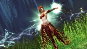 A human elementalist from Guild Wars 2
