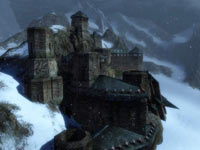 A snow covered fortress from Guild Wars 2