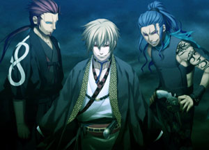 Three potential romantic interests in Hakuoki: Demon of the Fleeting Blossom