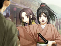A female Samurai protecting a woman in Hakuoki: Demon of the Fleeting Blossom