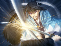 A katana duel from Hakuoki: Demon of the Fleeting Blossom